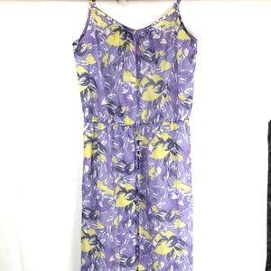 LOFT Floral purple yellow maxi spaghetti straps S